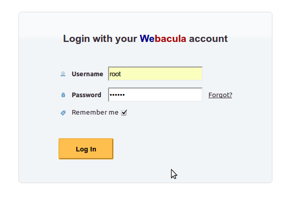 Login with your Webacula account